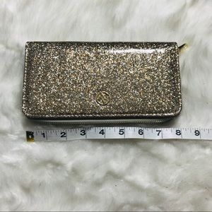 NWOT Adrienne Vittadini Gold Glitter Zipper Wallet